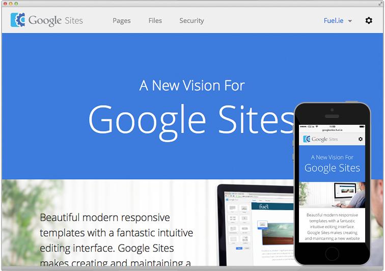 Fuel | Google \'Sites\' concept