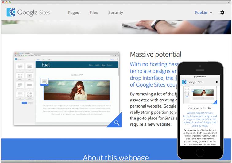 Fuel   Google \'Sites\' concept